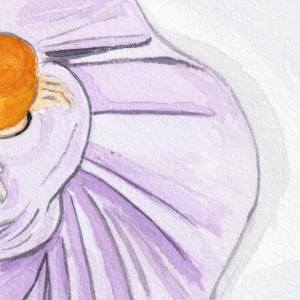 Watercolor Sufi Dancer closeup