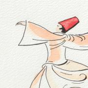 Watercolor Sufi Dance Frame closeup