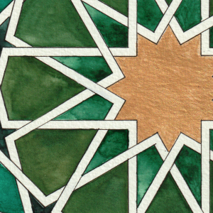 Framed Islamic Geometric watercolor